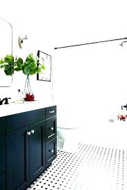 post black octagon tile and white floor bathroom hex