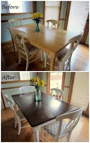 dining table makeover before and after dark top with light white with cushions dining table and 4 chairs best white paint