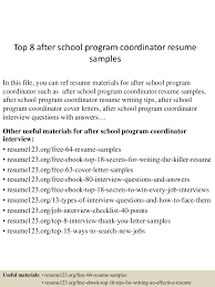 After School Program Resume Resume For Study