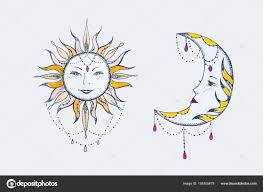 эскиз солнца и луны на белом фоне стоковое фото Nookphoto At Mail