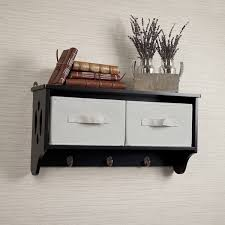 Wall Shelf Coat Rack Entryway Storage Wall Shelf with Canvas Bins and Hooks Free 75