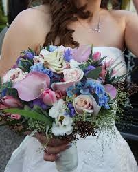 The Flower Magician Ice Blue Pale Pink Wedding Bouquet