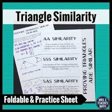 triangle similarity foldable aa sas sss