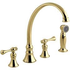 Kohler Brass Kitchen Faucet Kohler Revival 2 Handle Standard Kitchen Faucet With Side Sprayer