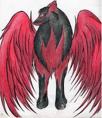 red and black wolf with wings.  Black Red Winged Dark Wolf By WaffleMistress  Inside And Black Wolf With Wings N