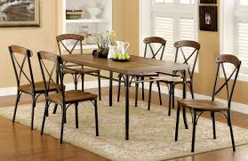 industrial dining room table and chairs. Industrial Wooden Bronze Dining Table Set | Sturdy Style Room And Chairs F