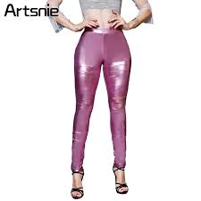 2019 artsnie pink leather hole y skinny pants women spring 2018 high waist party las pu long pencil pants capris legging from cashmere52