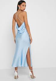 Light Blue Satin Cowl Neck Dress Side Split Satin Cowl Back Midi Dress