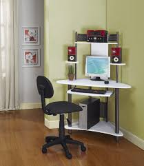 small white corner office. Small Corner Desk With Hutch White Modern Computer Decor Tempered Glass Top Office
