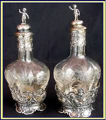 antique pr engraved glass silver perfume bottle for