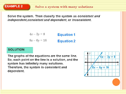 example 2 solve a system with many solutions solve the system