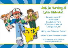 Pokemon Birthday Invitations Pokemon Birthday Invitations By Means