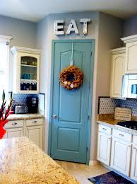 Painted pantry door $10 project. Benjamin Moore Azores paint color. Idea-  Paint pantry