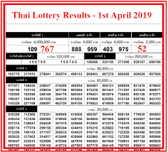 1st April 2019 Thai Lottery Result Chart Lottery Results