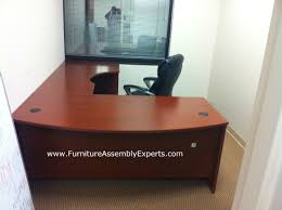 bush executive l shaped desk sold by office depot installed in rockville md by furniture assembly