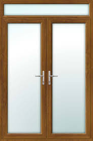 oak upvc french doors with top light
