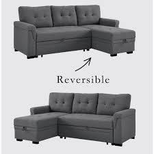 bowery hill steel gray linen reversible
