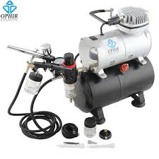 ophir dual action airbrush kit with air tank compressor for hobby cake painting tanning airbrush