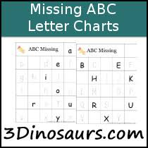 3 Dinosaurs Missing Abc Letter Charts