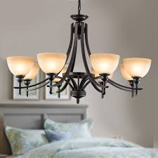 8 light black wrought iron chandelier with glass shades dk 8034 8