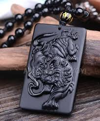 obsidian carved chinese tiger pendant