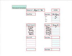 Weekly Homework Planner Weekly Homework Schedule Sample Blank