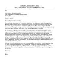 Data Analytics Cover Letter Business Data Analyst Cover Letter