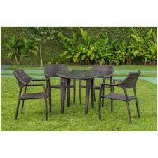 4 seater garden cane wicker round dining table