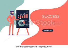 Businessman Presents A Report Using Infographics On The Office Flip Chart Banner