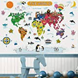 From peel and stick wallpaper to wall decals, we are your go to for all decor that's fun, fast, easy, and affordable. Amazon Com Homeevolution Kids Educational Removable World Map Peel And Stick Large Wall Decals Stickers For Children Nursery Bedroom Living Room Kitchen Dining