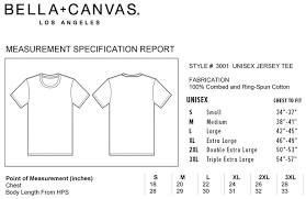 Bella Canvas 3001c Size Chart 12 Conclusive Bella And Canvas Size Chart
