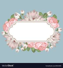 Floral Card Template With Empty Frame Royalty Free Vector