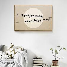 nordic birds on wires moon canvas painting landscape posters minimalist wall art pictures for living room on birds on wire canvas wall art with nordic birds on wires moon canvas painting landscape posters