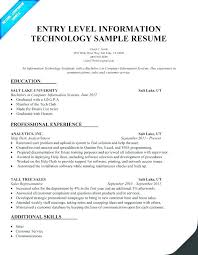 Entry Level Information Technology Resume With No Experience Best Information Technology Resume