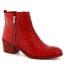 women s handmade heeled ankle boots in red woven calf leather loading zoom