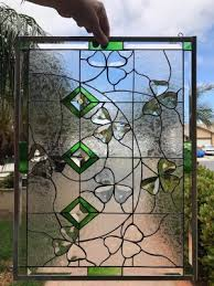 beveled shamrocks leaded stained glass window panel 18 x 24 in
