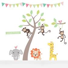 Pastel Jungle Animal Wall Stickers   Wall sticker, Nursery and Room