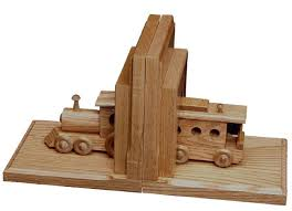 Amish Oak Wood Bookends with Wooden Train