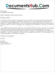 Letter Of Resignation For A Teacher New Resignation Letter Sample