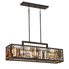 quoizel crossing 8 25 in w 4 light bronze kitchen island light with tinted shade
