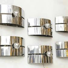 large wall sconces set of 3 pairs of chrome mid century modern large wall sconces or