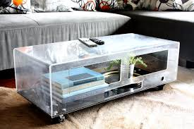 Furniture, Clear Rectangle Contemporary Glass Terrarium Coffee Table Design  Ideas To Complete Living Room Decor