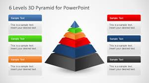 Diagram Of A Pyramid 6 Levels 3d Pyramid Template For Powerpoint