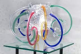 vintage handmade glass pendant lamp by