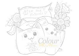 Colour Meow Cat Colouring Pages Drawings For Adults Anti In Coloring