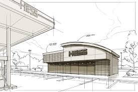 rough architectural sketches. There Was A Decision To Explore The Creation Of New C-Store Brand Separated From Hess Name. This Needed Have Its Own Architectural Vocabulary Rough Sketches
