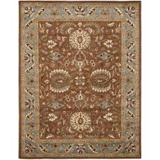 safavieh heritage brown blue wool area rug 9 6 x 13 6