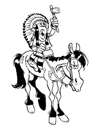 Kleurplaten Paradijs Kleurplaat Indiaan Op Paard