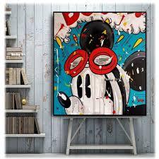 Street art <b>100</b>% <b>hand painted</b> Graffiti Mickey Mouse <b>oil paintings</b> ...