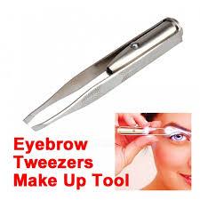 eyebrow tweezers. p-top led light eyelash eyebrow hair removal tweezers - silvery white